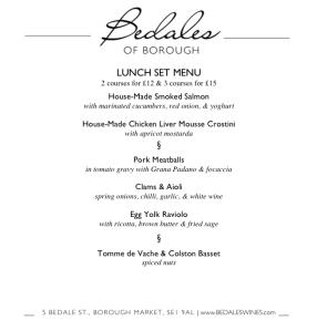 Borough Lunch Set Menu 2016